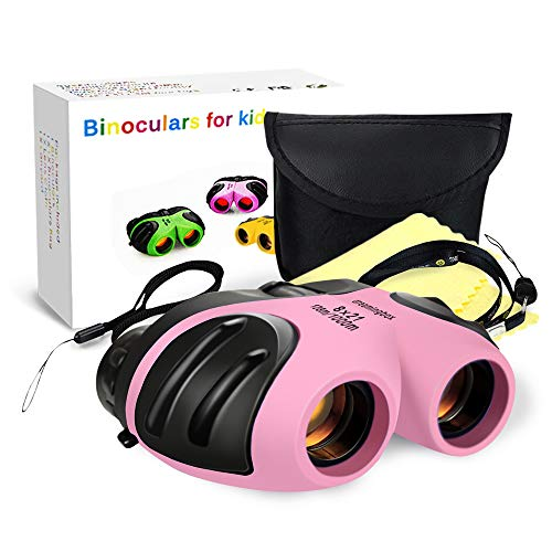 Gifts for 4 5 6 7 8 Year Old Girls, TOP Gift Compact Binocular for Kids Toys for 3-12 Year Old Girls Boys 2018 Christmas New Gifts for 3-12 Year Old Girls Boys Stocking Fillers Pink TGUS009