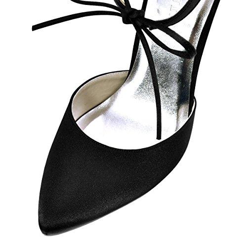 Tie Satin Strap Pumps Women's Pointed D'Orsay ElegantPark Heel High Dress Toe Ankle Black Bow x6qwFZ7w