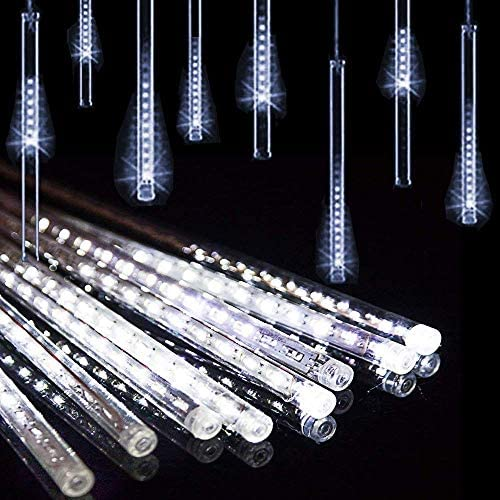 EONLYX Solar Outdoor String Lights, 30cm 10 Tubes 360LEDs Meteor Shower Lights Waterproof Icicle Snow Falling Raindrop for Wedding Garden House Outdoor Decoration White
