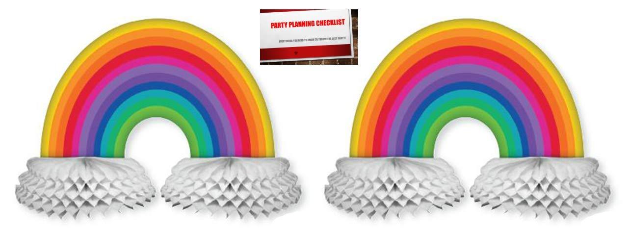 Rainbow Honeycomb Paper Centerpiece Decoration Pack of 2 Plus Party Planning Checklist