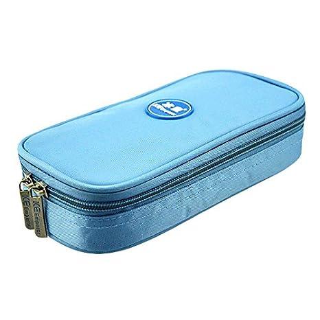 Sac isotherme médical portable pour insuline, compartiments de rangement et affichage de température bleu clair