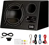 """Acoustic Audio by Goldwood ACA12DWG Deluxe Powered 12"""" Car Ported Subwoofer 900W with Wiring Kit and Remote Level Control, Black"""