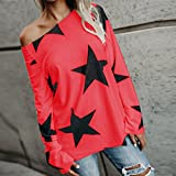 Vovotrade Adorable Women Girl Strapless Star Sweatshirt Long Sleeve Crop Jumper Pullover Tops (Red, S)
