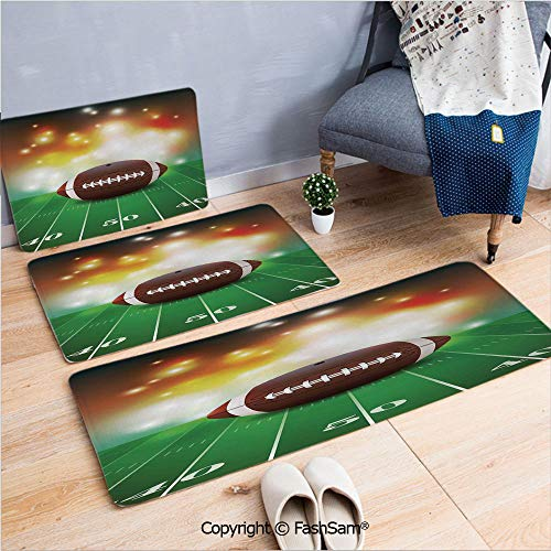 3 Piece Flannel Doormat American Football Ball with Golden Properties on Grass Turf Field Team Art Graphic for Kitchen Rugs Carpet(W15.7xL23.6 by W19.6xL31.5 by W19.6xL59)