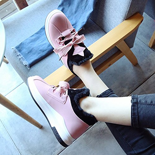 Fashion Sneakers Shoes Casual CYBLING Sport Warm Flat Winter Pink Womens xwOxYqP6