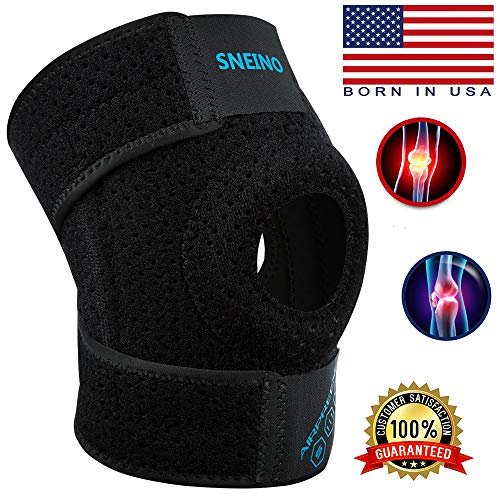 SNEINO Knee Brace Adjustable Open Patella,Knee Brace for Meniscus Tear,Knee Brace for Arthritis Pain and Support,Knee Brace with Dual Side Stabilizers,Kids Knee Brace,Patella Stabilizing (Black)