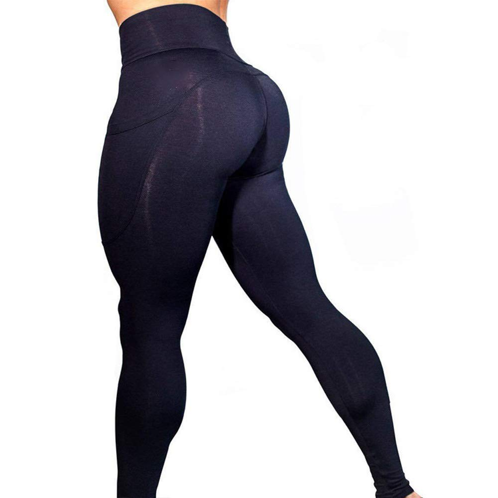 Clearance Womens High Waist Stretch Yoga Leggings Pocket Tummy Control Workout Running Fitness Gym Athletic Pants (Black, X-Large) by Aritone (Image #3)