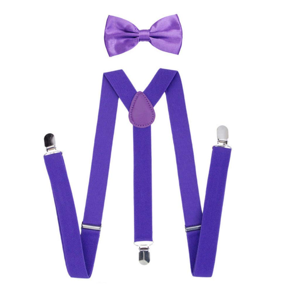 yanbirdfx Solid Color Unisex Clip-on Elastic Y-Shape Adjustable Suspenders Bowtie Set - Purple