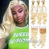 Dorabeauty #613 Blonde Human Hair Bundles 4×4 Lace Closure with 3 Bundles Body Wave 100% Brazilian Remy Human Hair (14''Closure+16''18''20''Bundles)