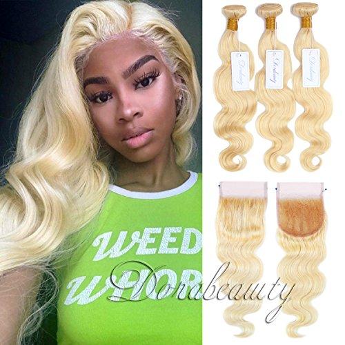 Dorabeauty #613 Blonde Human Hair Bundles 4×4 Lace Closure with 3 Bundles Body Wave 100% Brazilian Remy Human Hair (14''Closure+16''18''20''Bundles) by DoraBeauty