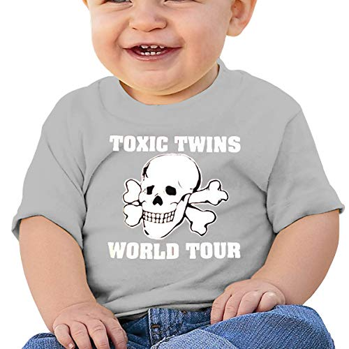 Boys Girls Baby Short Sleeve T-Shirt 80s Toxic Twins Tour Toddler Kids 100% Cotton Tees Tops Gray (Twins Toxic Tshirt)
