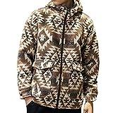 Hunzed Men【Printed Zipper Hooded Woolen Coat】Mens Winter Fashion Casual Loose Pocket Overwear (XXX-Large, Khaki)