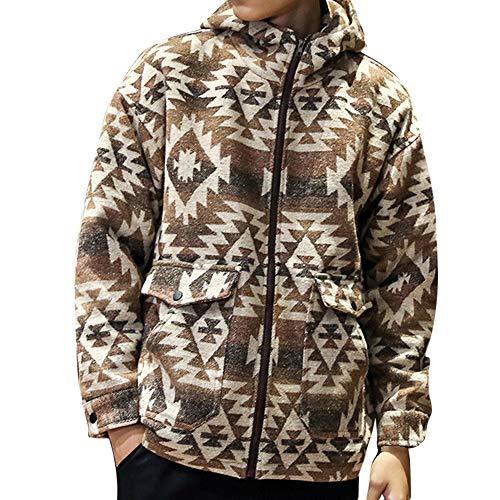 ANJUNIE Men's Autumn Winter Casual Hoodie Zipper Printed Cardigan with Pocket Overcoat Coat(Khaki,M) -