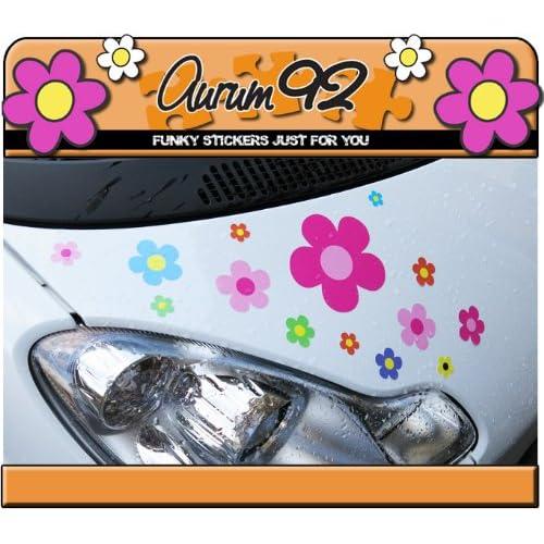 new Lot de 30 stickers colorés motif fleurs pour voiture