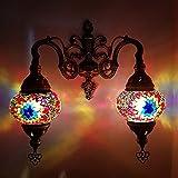 Handmade Turkish Moroccan Tiffany Bohemian Style Double Glass Mosaic Wall Lamp Light (MC7)