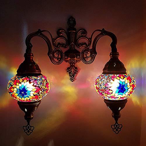 (Handmade Turkish/Moroccan/Tiffany/Bohemian Style Double Glass Mosaic Wall Lamp Light (MC7))