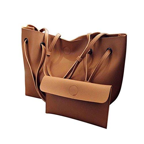 2PCS Femmes Dessine-string de couleur unie PU Sac à bandoulière en cuir de grande capacité fille Lady Sac fourre-tout doux shopping sac à main Arichtop Café