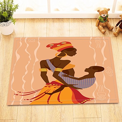 LB Black Woman in Tribal Costume and Baby Small Shower Rugs, Anti Skip Rubber Backing Comfortable Soft Surface, African Theme Decor Rug 15 x 23 (Egyptian Cat God Costume)