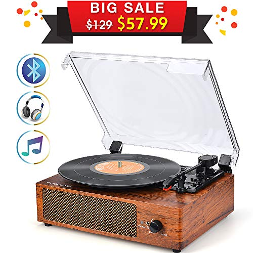 (Record Player Turntable 3-Speed Bluetooth Vinyl Record Player with Stereo Speaker Belt Driven Vintage Style Vinyl Record Player)