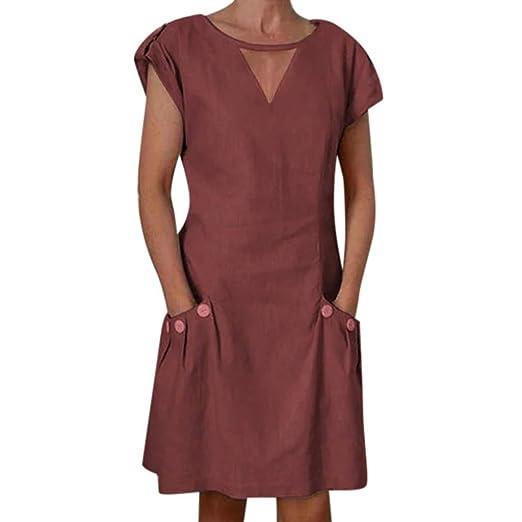893b4f7c604d Womens Vintage Linen Dresses Solid Casual Loose Short Sleeve V-Neck ...