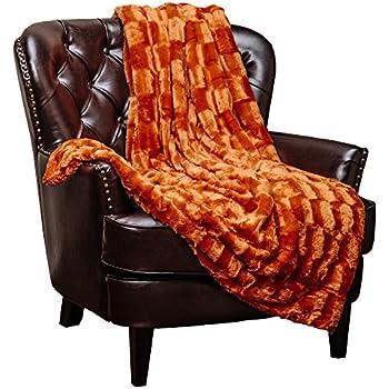 "Chanasya Super Soft Fuzzy Fur Elegant Faux Fur Rectangular Embossed Pattern With Fluffy Plush Sherpa Cozy Warm Orange Microfiber Throw Blanket (50"" x 65"") - Burnt Orange"