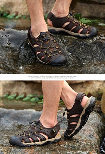 para Verano Libre Dedo Hombre al Caminar Sandalias de Cuero Oscuro Caminar del Caminar Deportivos 18051605H la Playa Chanclas en de Cerrado pie Aire Marrón Zapatos para Viajar Highdas wXzZzaqP
