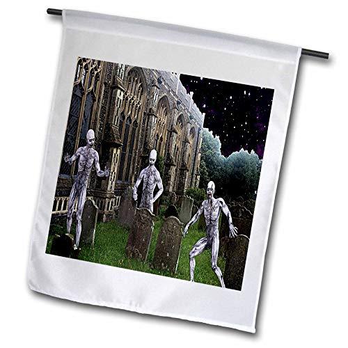 3dRose Sandy Mertens Halloween Designs - Zombie Monsters in Graveyard on Halloween Night, 3drsmm - 18 x 27 inch Garden Flag (fl_290249_2)