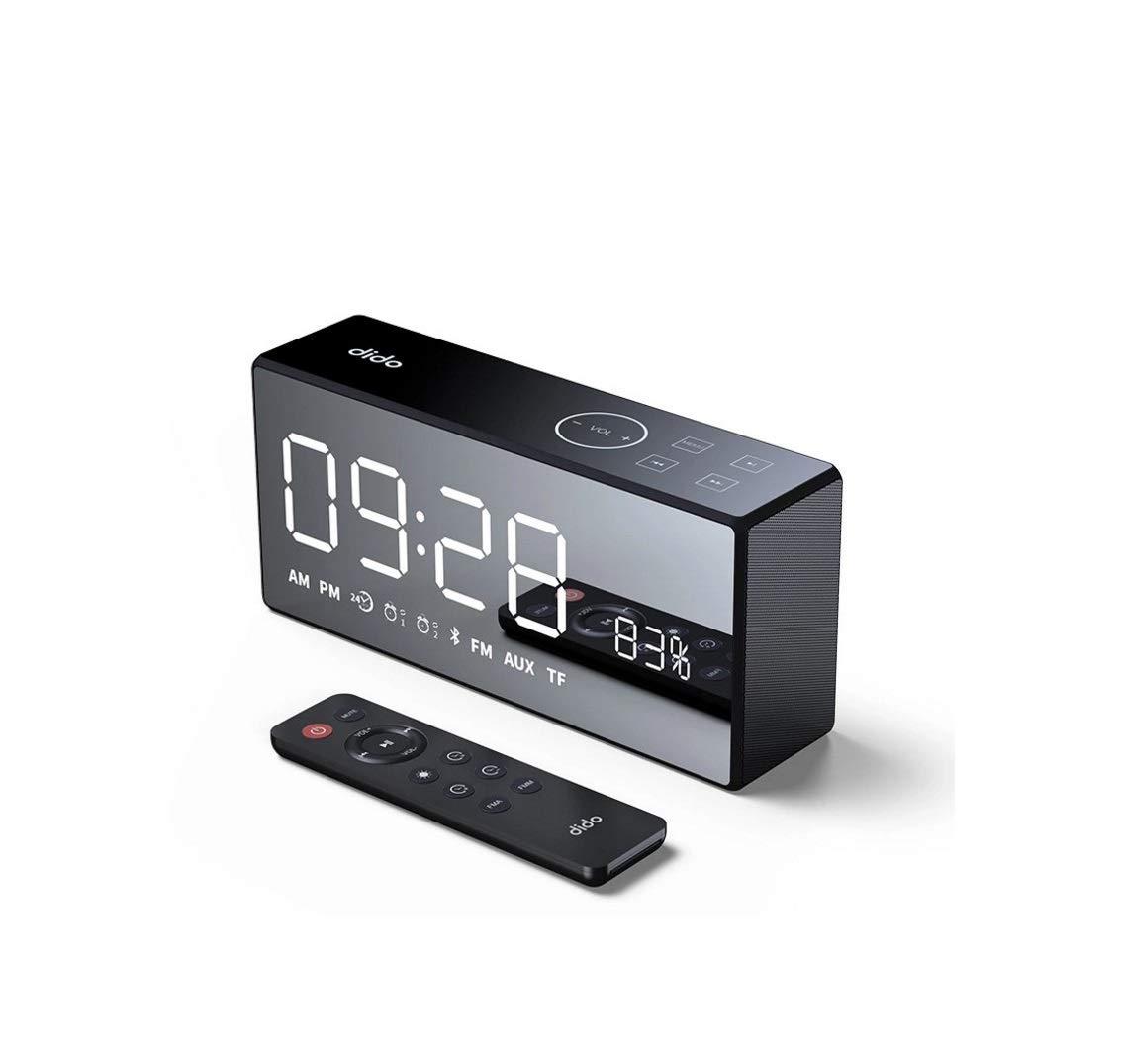 WangGai ワイヤレスBluetoothスピーカーミラー大画面衝撃的な目覚まし時計双方向スピーカー (Color : ブラック)   B07QBPQRYD