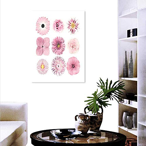 Daisy Gerbera Balloons (Anyangeight Pink White Canvas Wall Art Botanical Daisy Chrystanthemum Cornflower Dahlia Iberis Primrose Gerbera Set Customizable Wall Stickers 16