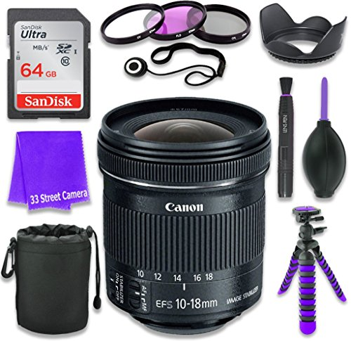 Canon EF-S 10-18mm f/4.5-5.6 IS STM Lens (White Box, Bulk Packaging) for Canon DSLR Cameras & SanDisk 64GB Class 10 Memory Card + Complete Accessory Kit (11 Items)