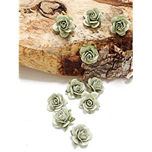 Set of 10 Sage Green Paper Roses 89