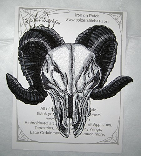 Huge Wicked Ram Skull Patch Iron on Patch or Sew on Pagen Punk Gothic Goth Patch -