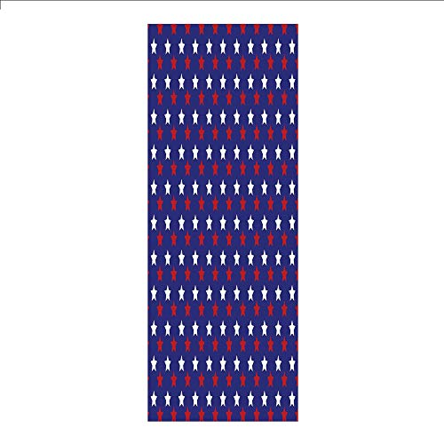 3D Decorative Film Privacy Window Film No Glue,USA,United States of America Theme Federal Holiday Celebration Revolution Design Decorative,Dark Blue Red White,for Home&Office (Revolution Bohemian)