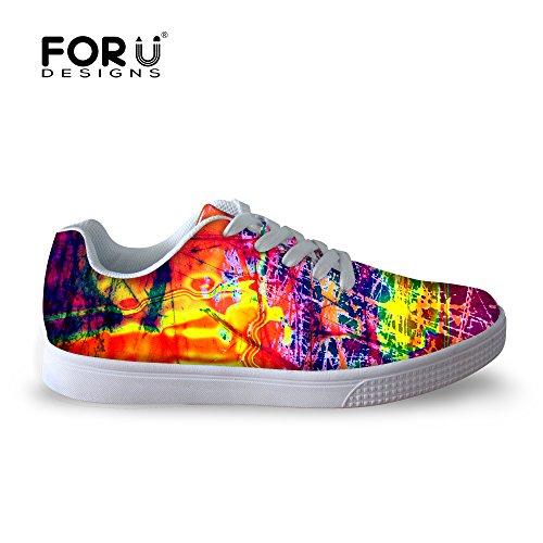 För U Designar Tillfälliga Mens Graffiti Malow Topp Bekväm Skateboard Skor Spets-up Sneaker Multi 2