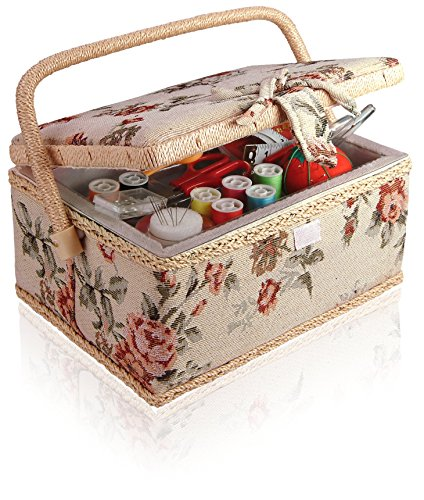 Classic Fabric Floral Design Sewing Basket with Sewing Kit Accessories (Baskets Design)