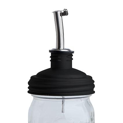 3e7612e8b334 reCAP Mason Jars Lid ADAPTA Oil Pourer Cap, Regular Mouth, Black -  BPA-Free, American Made Ball Mason Jar Lids for Storing and Pouring Oil,  Spill ...