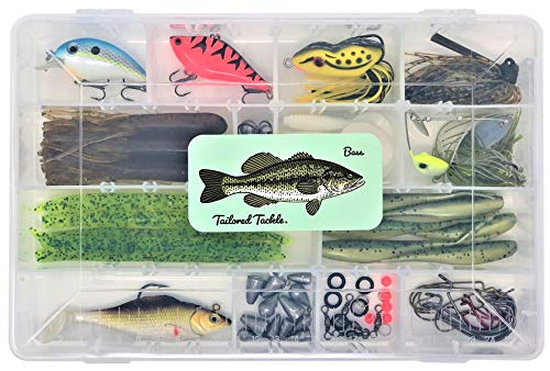 Tailored Tackle Bass Fishing Kit 77 Pcs. Tackle Lures Hooks Jigs Worms Weights
