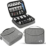 Electronics Organizer, Jelly Comb Electronic Accessories Double Layer Travel Cable Organizer Cord Storage Bag for Cables, iPad (Up to 11''),Power Bank, USB Flash Drive and More-(Gray)