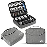 Electronics Organizer, Jelly Comb Electronic Accessories Double Layer Travel Cable Organizer Cord Storage Bag for Cables, iPad (Up to 11  ),Power Bank, USB Flash Drive and More-(Gray)