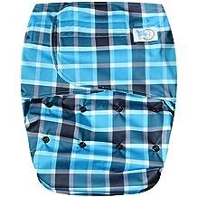 Happy Endings Teen / Adult Hook & Loop Closure Reusable Cloth Diaper Incontinence - Blue Plaid