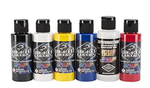 Airbrush Textile Paint (Wicked Colors W101-00 2-Ounce Wicked Primary Set Airbrush)