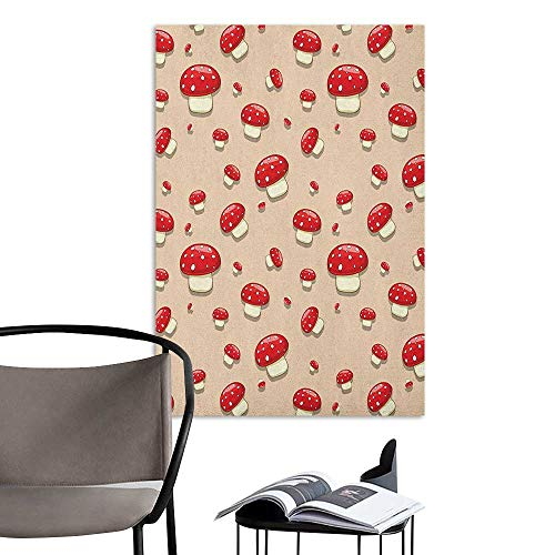 Self Adhesive Wallpaper for Home Bedroom Decor Mushroom Amanita Toxic Mushroom Illustration Spotted Summer Woodland Forest Clip Art Ivory Red Tan Restaurant Wall W32 x H48 ()