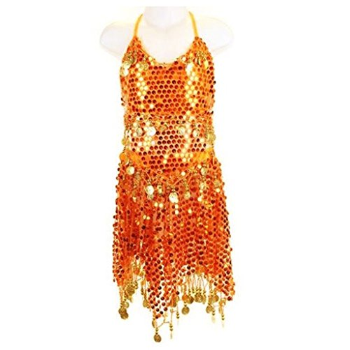 Pilot-trade Kid's Belly Dance Costume Girls Sparkly Circle Sequin Coins Top & Skirt (Glamour Girl Dress)