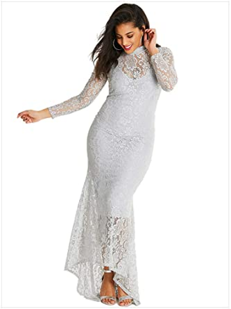 Sensfun White Lace Maxi Dress Long Sleeve Vintage Floral Lace Plus ...