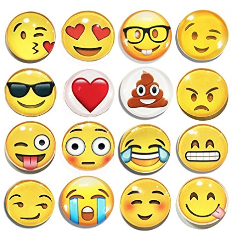Emoji Refrigerator Magnet Party - Set of 16 Pack Round Emojies Face For Silver Fridge Office Dry Erase Board Stainless Steel Door Freezer Whiteboard Cabinet Magnetic Great Fun For Adult Girl Boy Kid ()