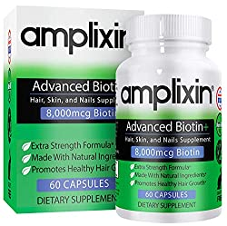Amplixin Advanced Biotin+ Hair, Skin & Nails Supplement contains the highest quality non-GMO and gluten-free ingredients and 8,000mcg biotin per serving to create an excellent support system for healthy hair growth, healthy skin and nails. Use wi...