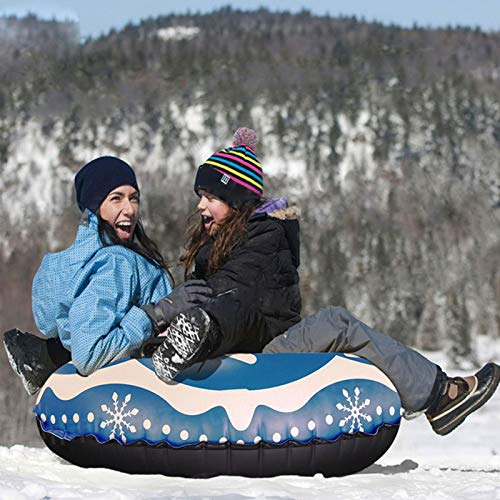 Snow Tube, Inflatable Snow Sled Heavy Duty Snow Tube 39inch Heavy Duty Sledding Tubes Freeze-Resistant Thickening Snow Toys Gifts for Kids Adults Winter Snow Outdoor Activity