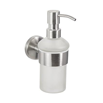 Baño Serie Firenze – Dispensador de jabón, robusto Acero Inoxidable Mate y cristal satinado,