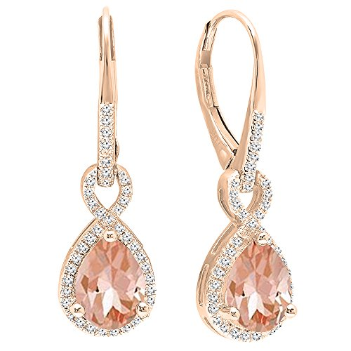 Dazzlingrock Collection 10K 8X6 MM Each Pear Morganite & Round White Diamond Infinity Dangling Earrings, Rose Gold