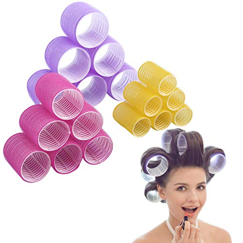 Jumbo Size Hair Roller sets, Self Grip, Salon Hair Dressing Curlers, Hair Curlers, 3 size 18 packs ((6XJUMBO+6XLARGER+6XMEDUIEM)